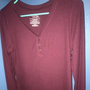 Maroon 1/3 button t shirt